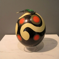 Flow - Handpainted Ostridge Egg - Oil and Found Objects