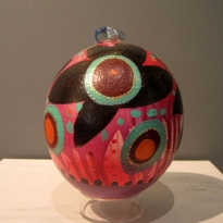 Joy - Handpainted Ostridge Egg - Oil and Found Object