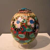 Spring - Handpainted Ostridge Egg - Oil and Found Object