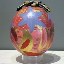 Triumph - Handpainted Ostridge Egg - Oil and Found Object